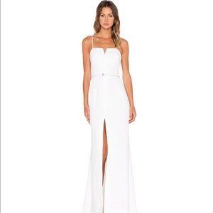 Front Slit Column Gown in  White Halston Heritage